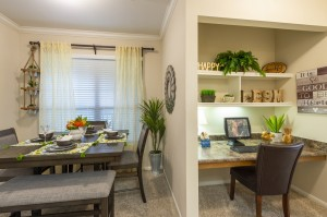 Two Bedroom Apartments for Rent in Northwest Houston, TX - Model Dining Room & Desk Nook